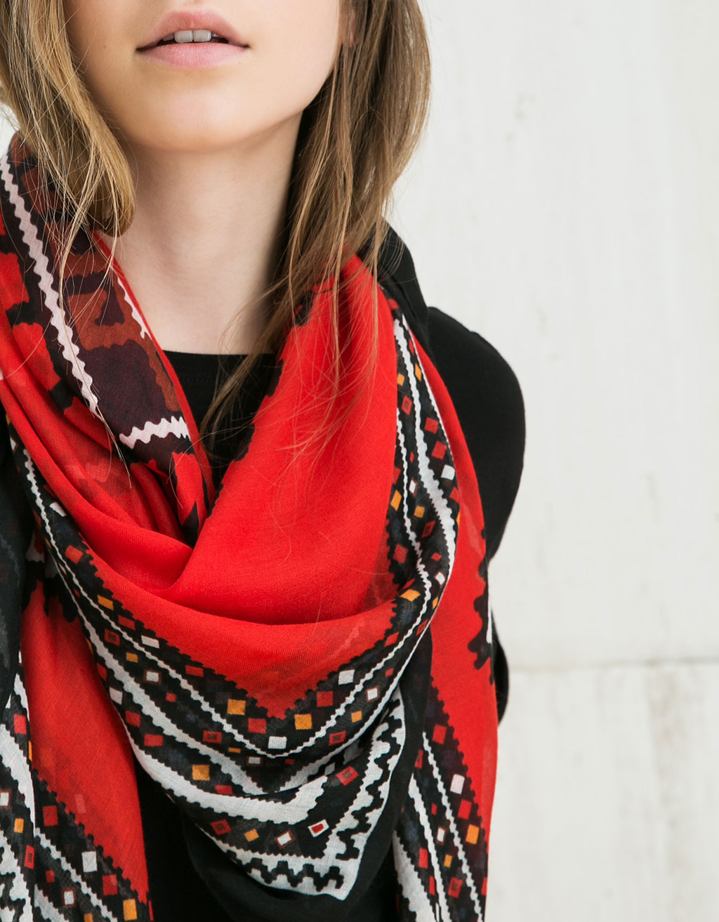 Red ikat scarf