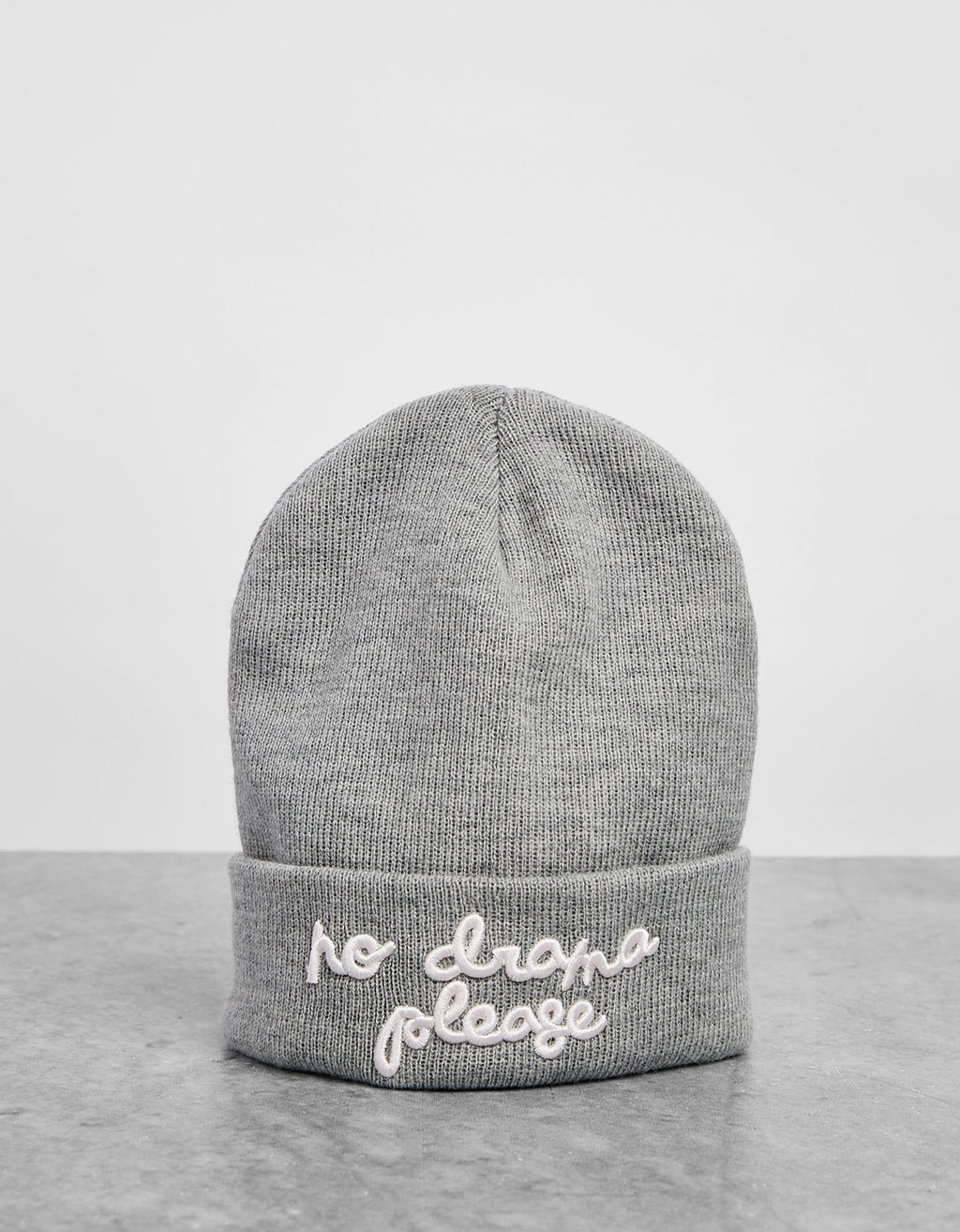 Embroidered text beanie hat