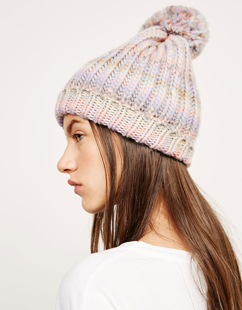 Barret beanie multicolor pompó