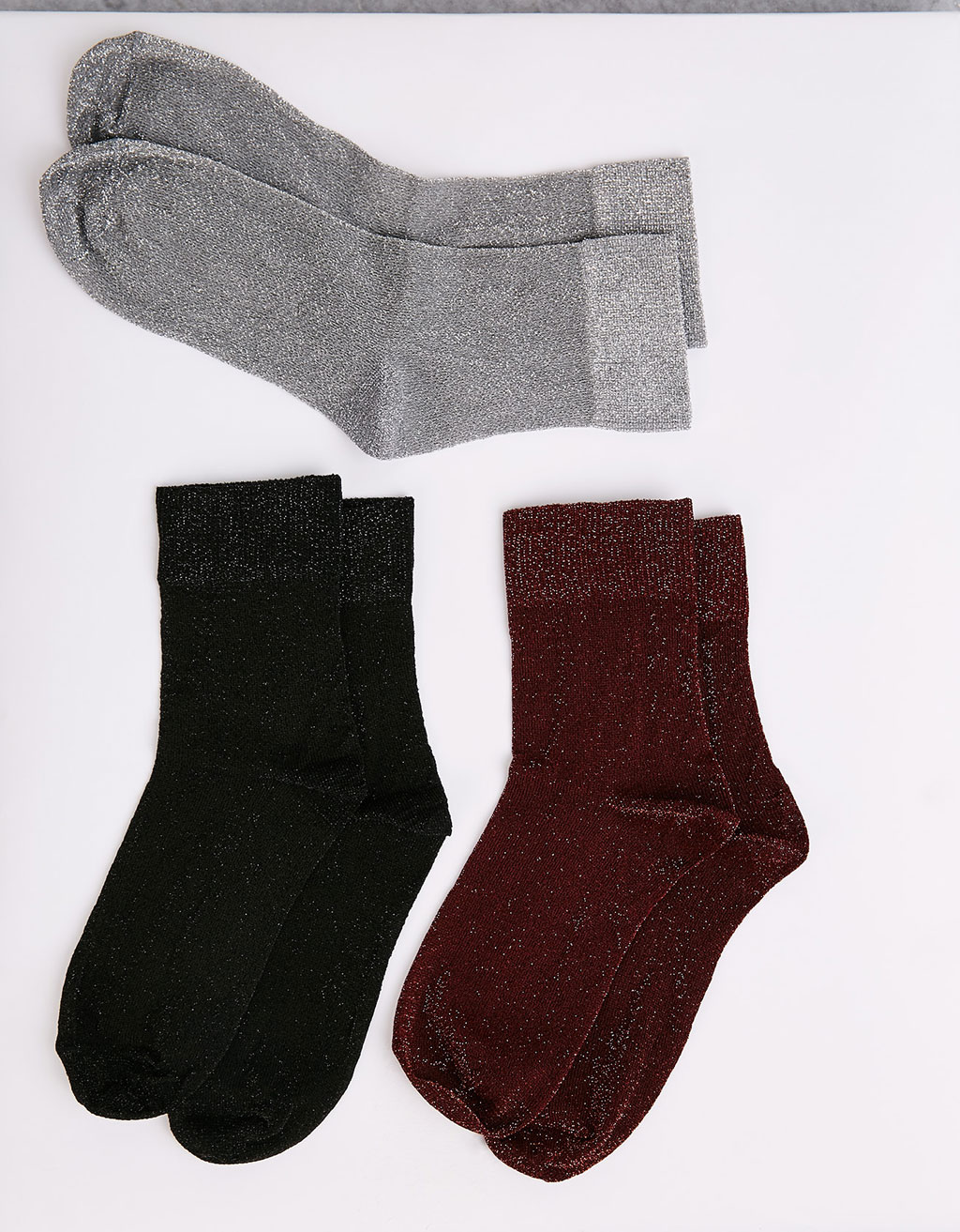 3er-Set bunte Lurexsocken