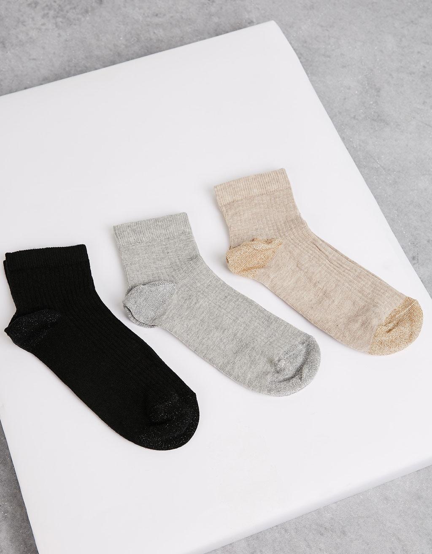 Set 3 calcetines canalé lurex punta y talón