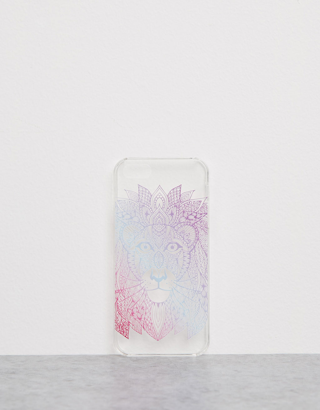 Embossed ethnic lion transparent iPhone 5/5s case