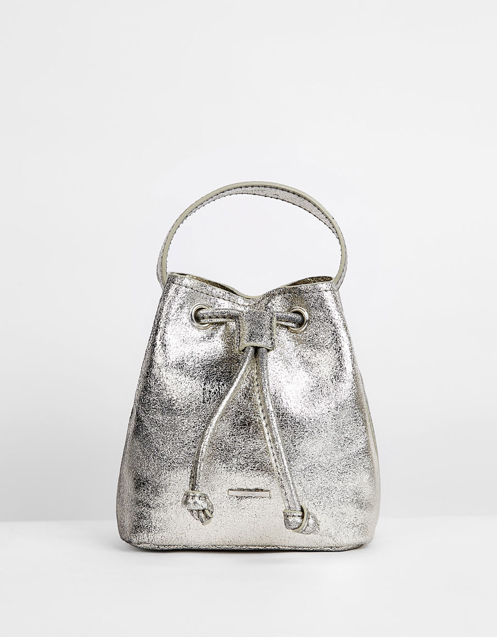 Mini metallic leather bag