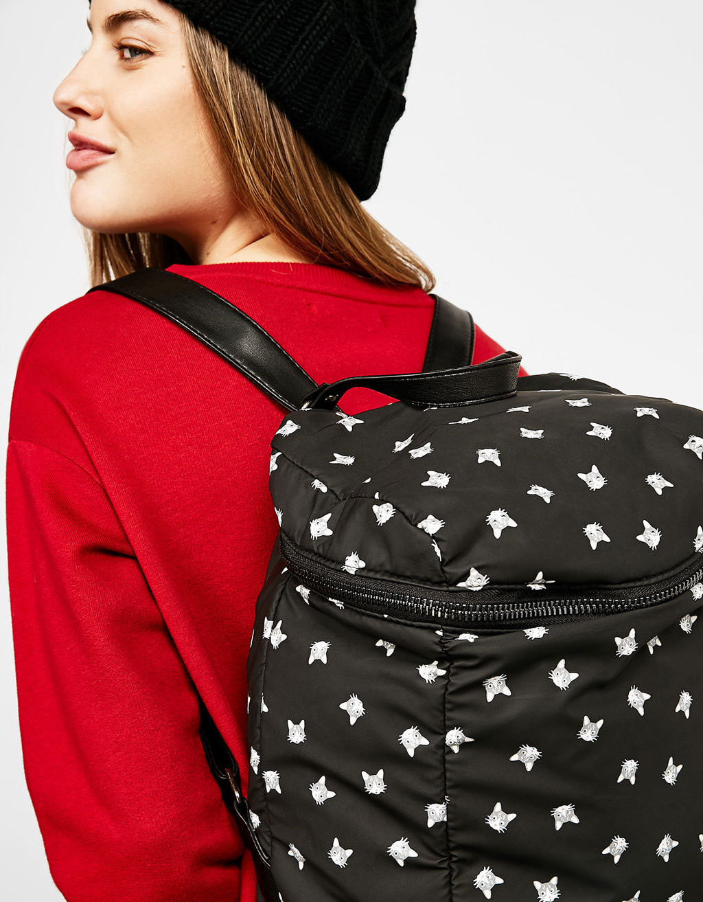 All-over cat print backpack