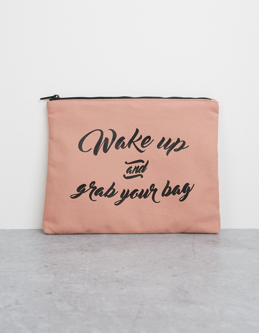 Canvas portfolio bag with text