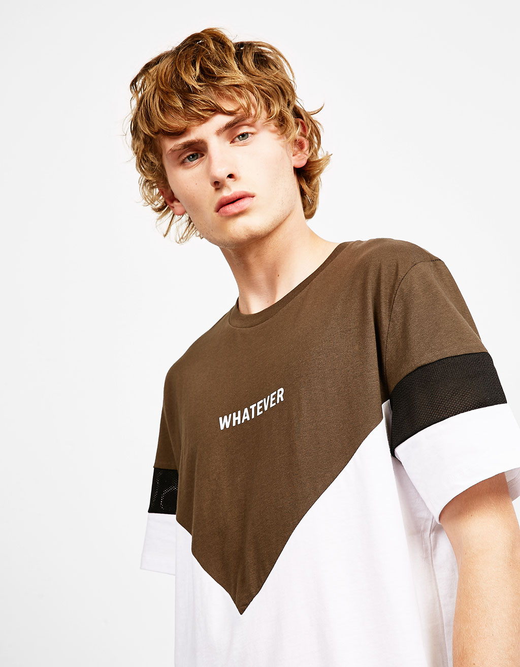 Chevron and mesh T-shirt