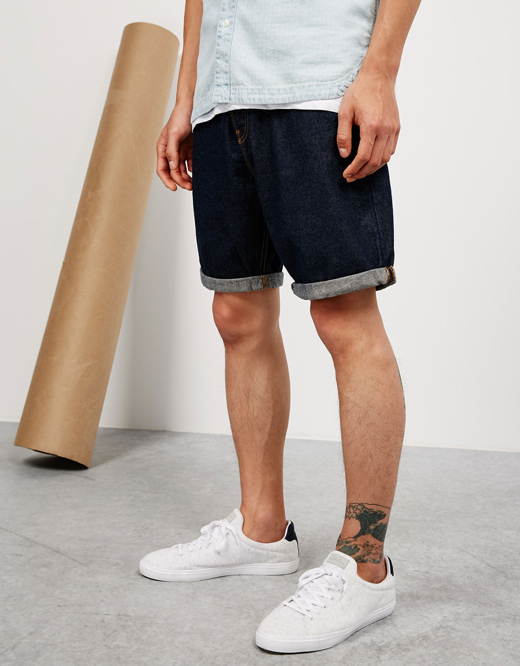Loose fit denim bermudas