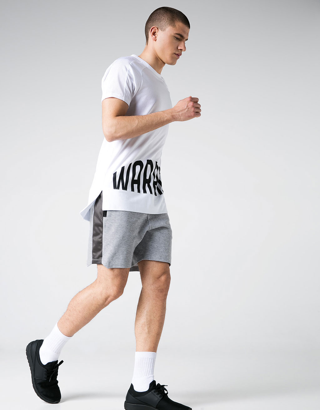 Printed technical sports shorts