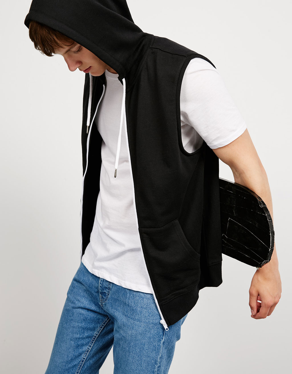 Hooded plush vest