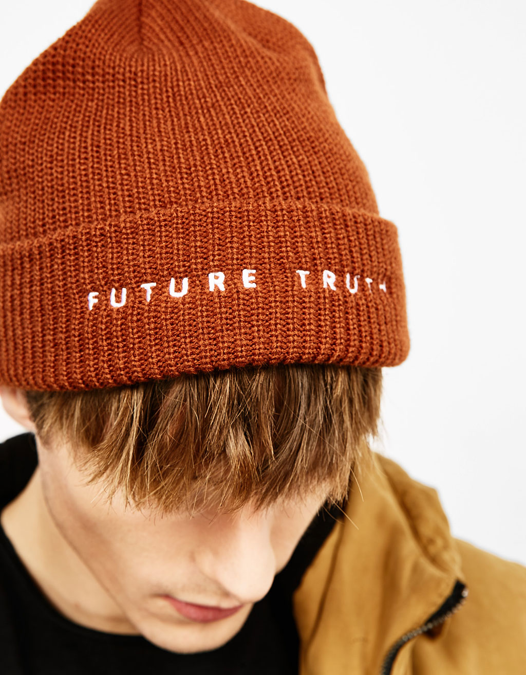 Slogan embroidered beanie