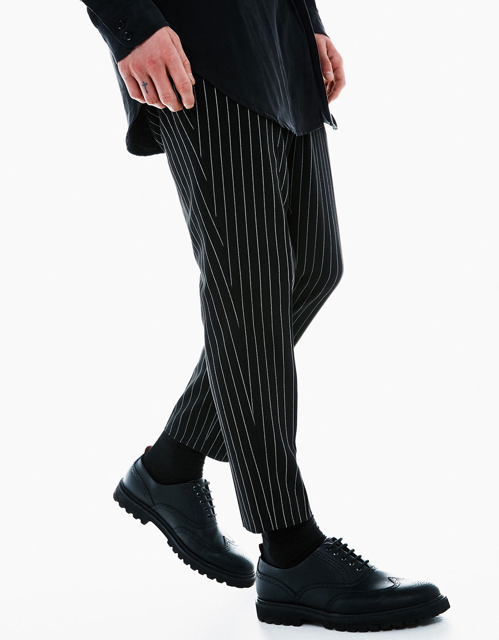Wool pinstripe trousers