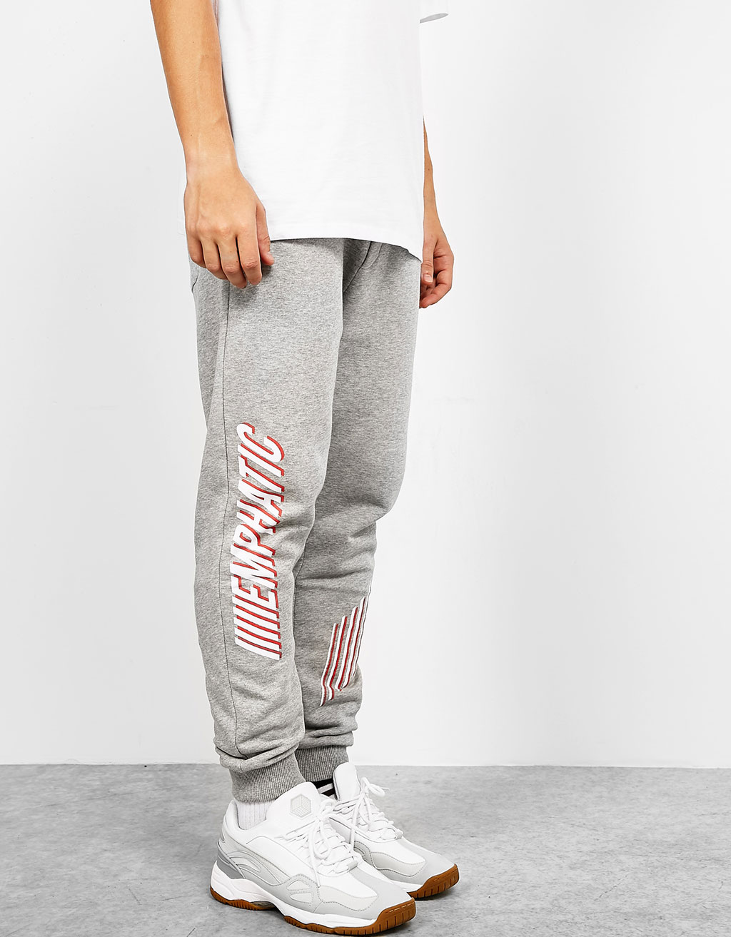 Text print jogging trousers