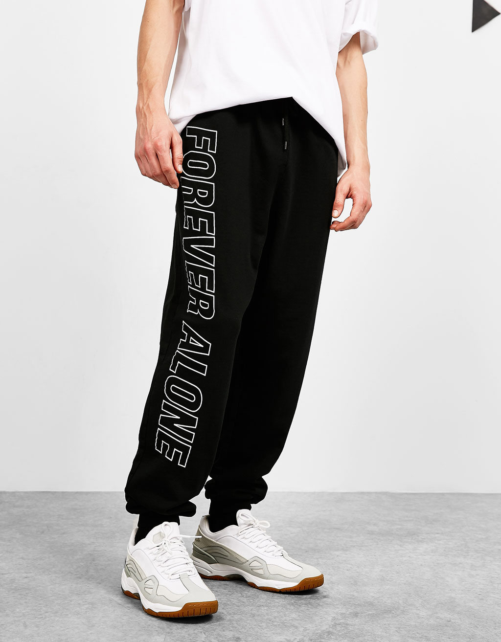 Text print plush trousers