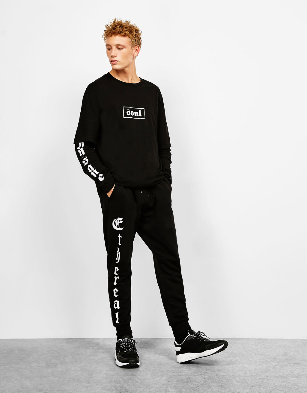 Plush grunge trousers with text down the side