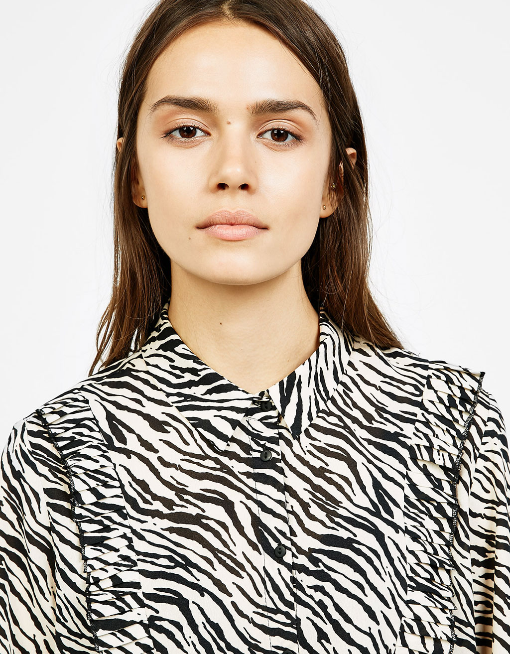 Zebra print shirt with frill
