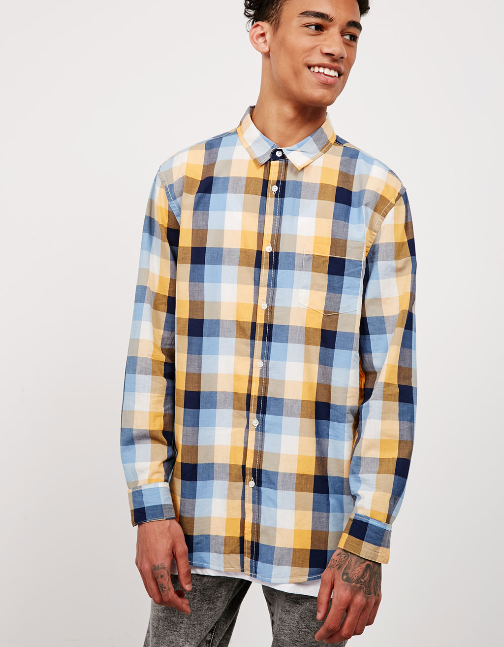 Multicolour checked top