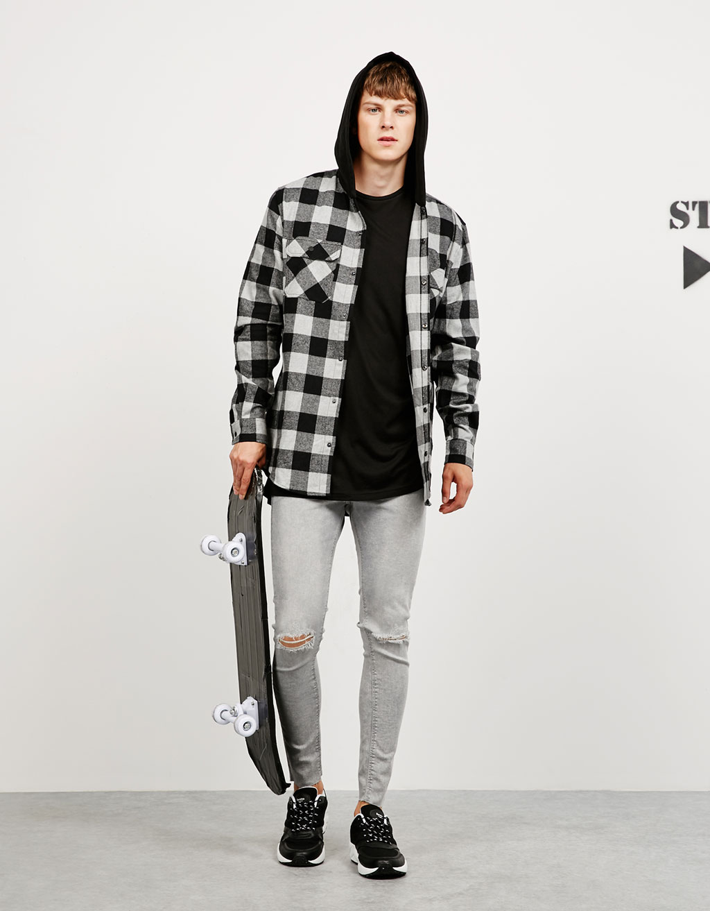 Checked and hooded plush cotton shirt