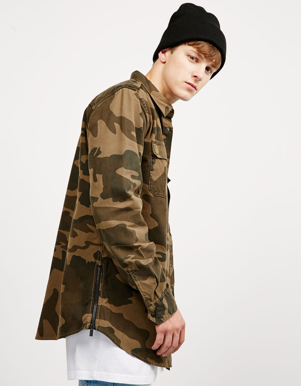 Camouflage print overshirt