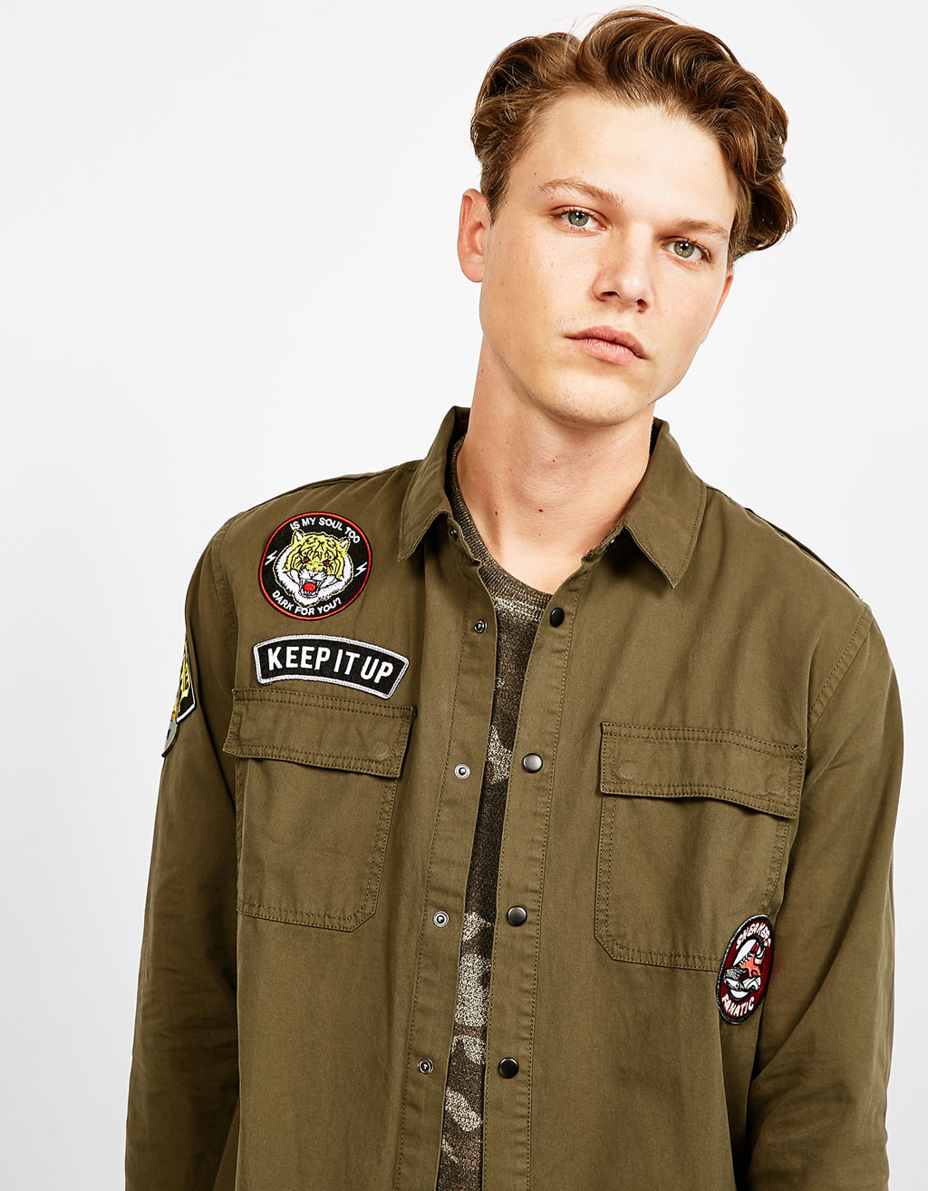 Military overshirt with patches