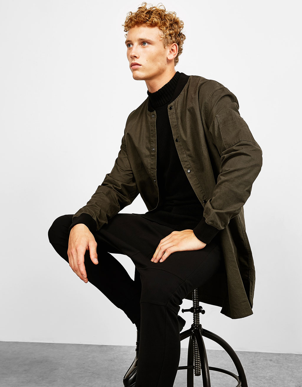 Bomber-style overshirt with cuff details