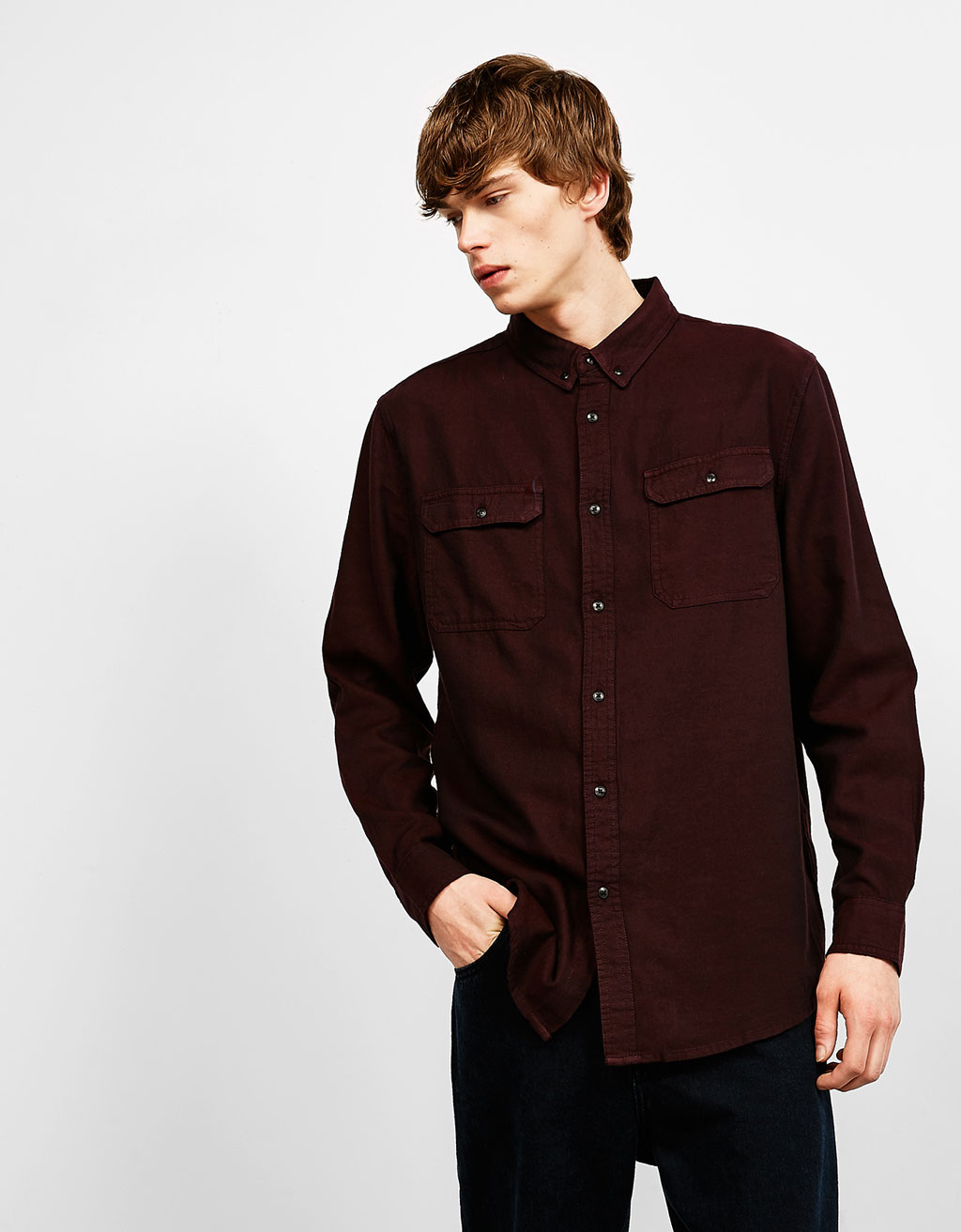 Twill flannel cotton shirt with pockets