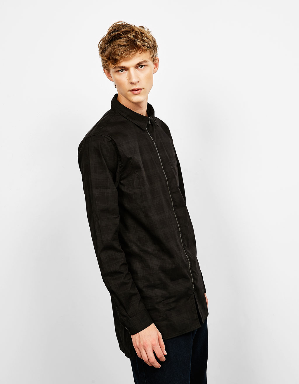 Longer fit checked shirt with zip