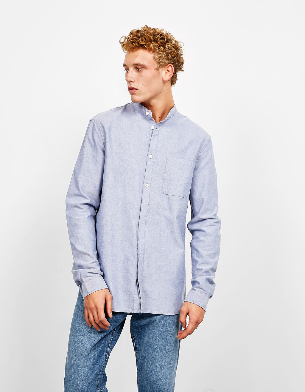 Mandarin collar Oxford shirt