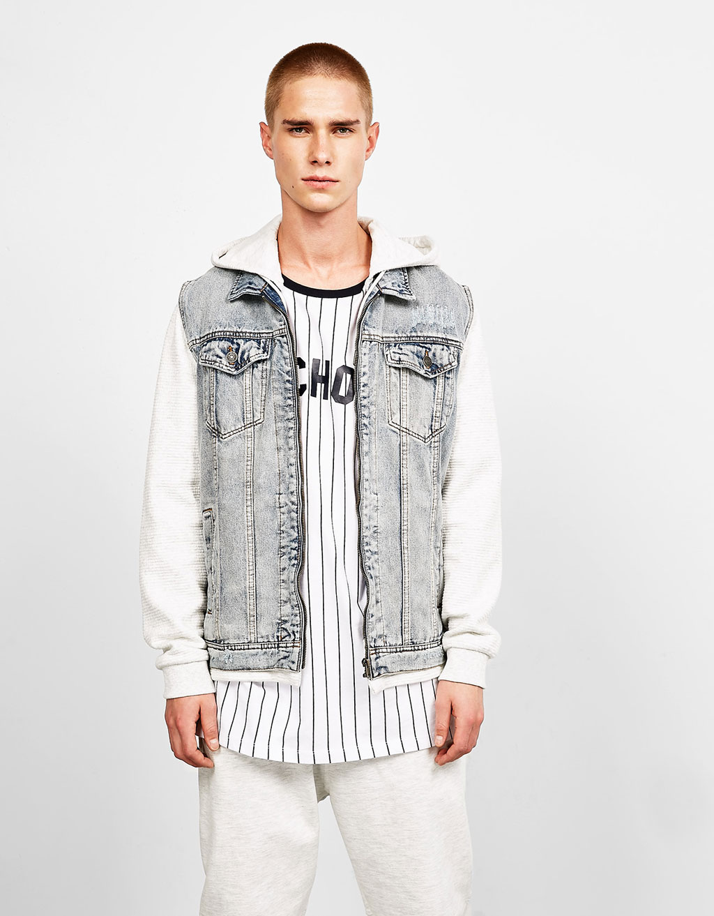 Contrast plush denim jacket with hood
