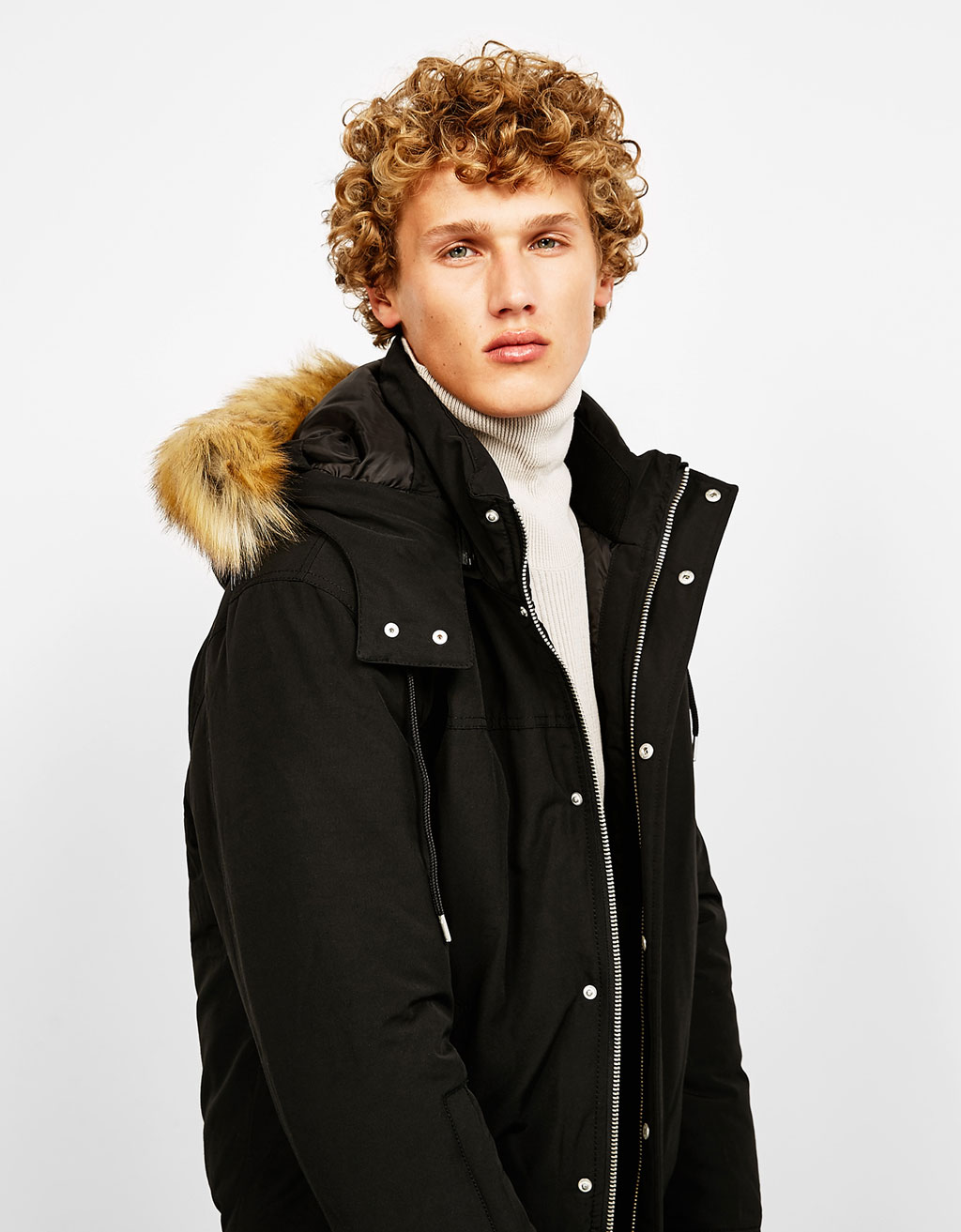Polyester jacket with detachable faux fur trimmed hood