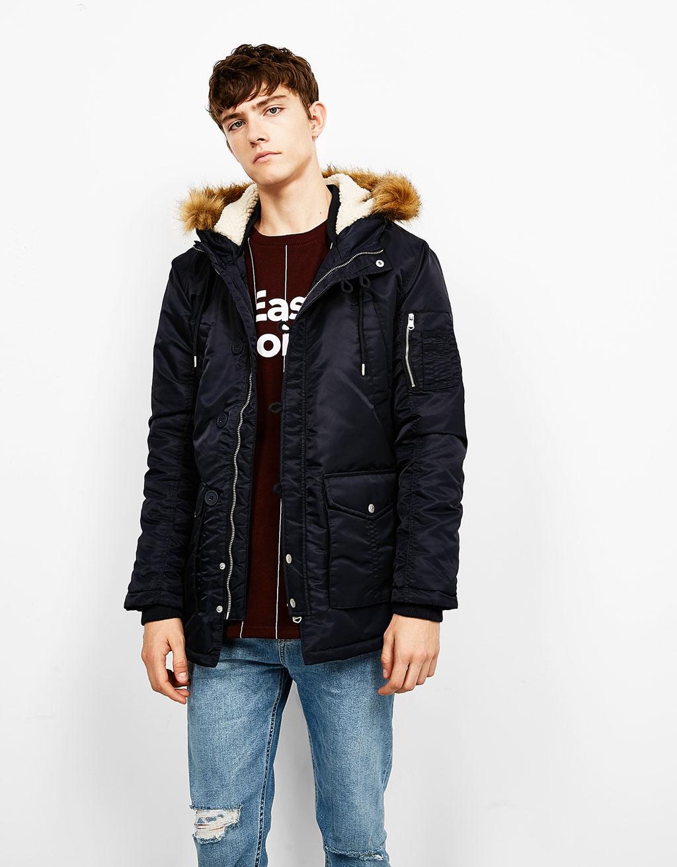 Jacket with detachable fur-trim hood