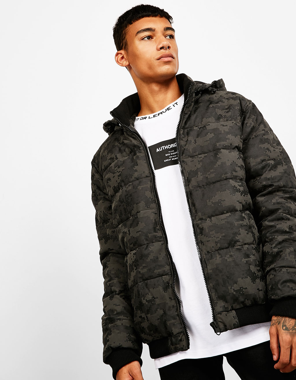 Quilted camouflage leather-effect jacket