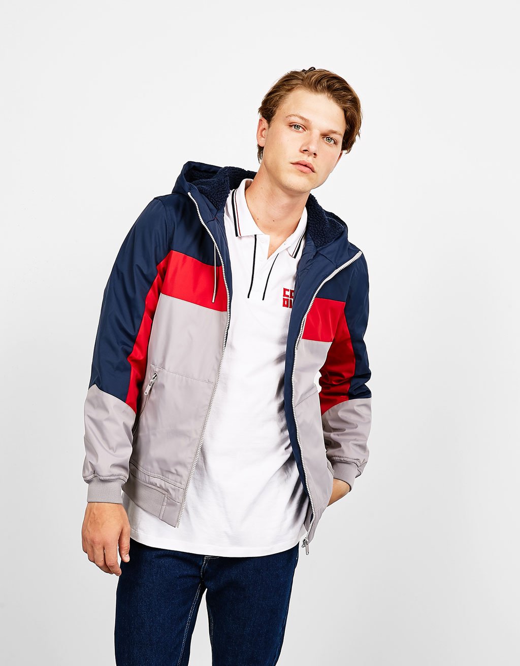 Tricolor polyester jacket with hood