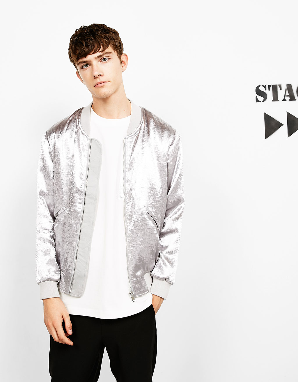 Metallic sateen bomber jacket