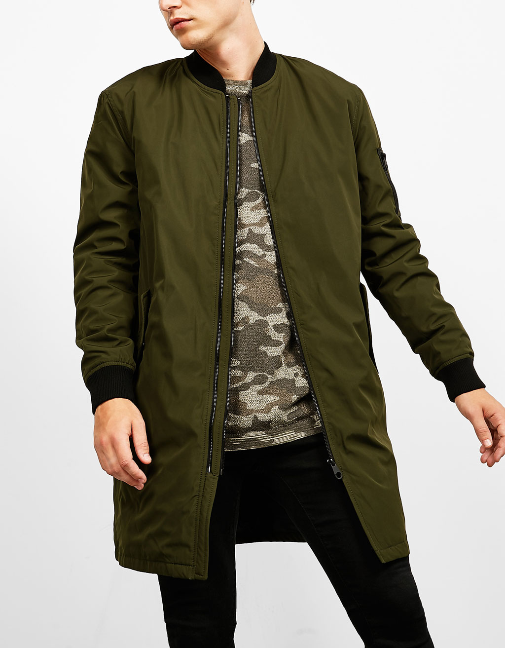 Long bomber-jacket style coat