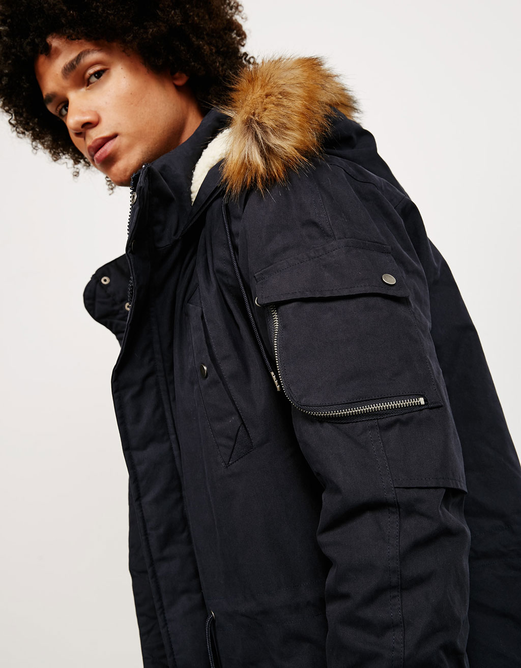Removable fur Korean style parka