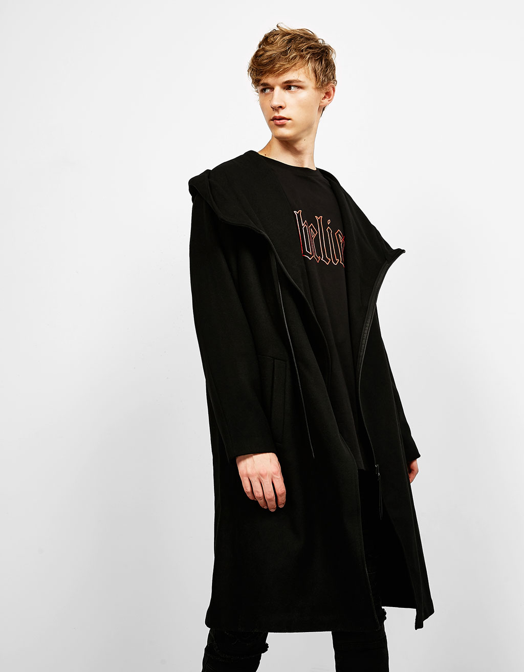 Asymmetric coat with hood