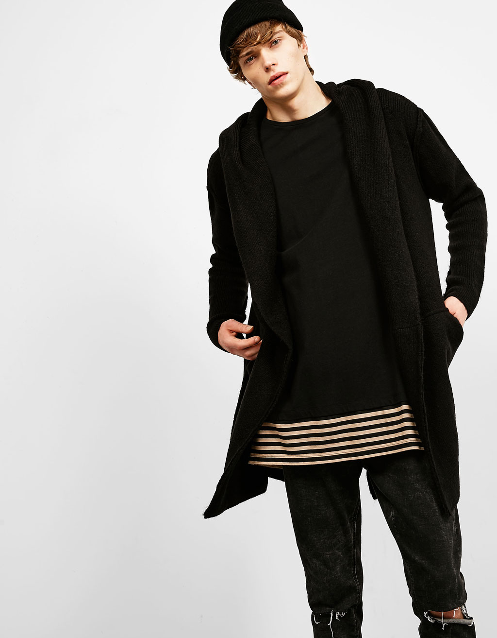 'Dark' hooded knit cardigan