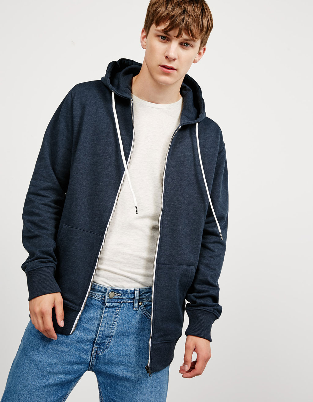 Hooded plush jacket with pocket