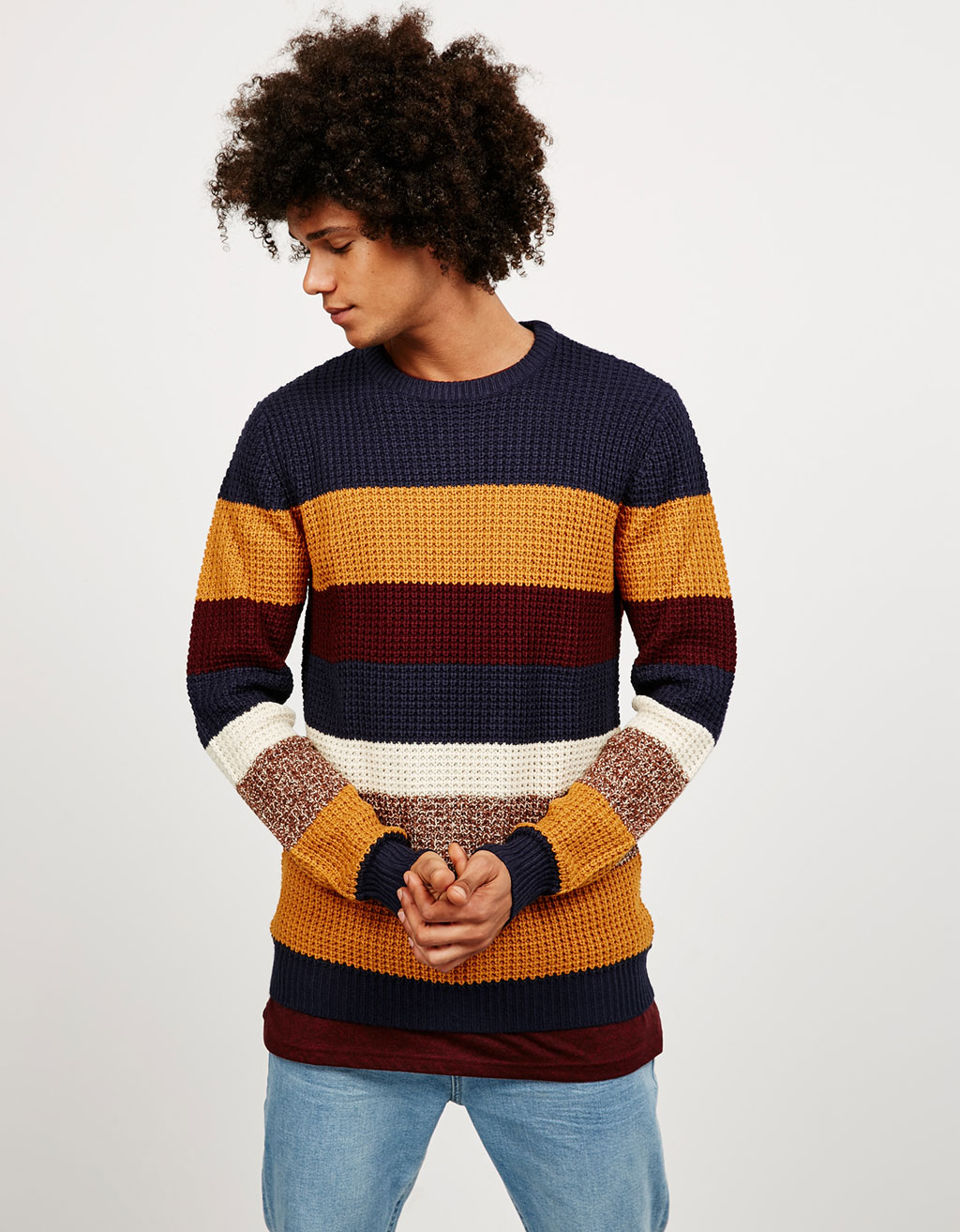 Flecked striped jumper