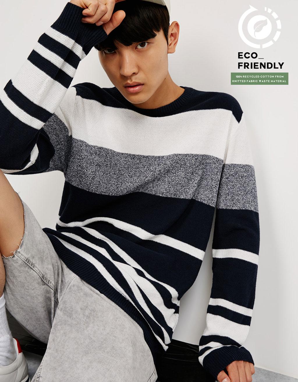 Sweter w paski z bawełny z odzysku