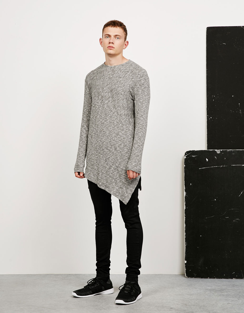 Diagonal cut ribbed jumper