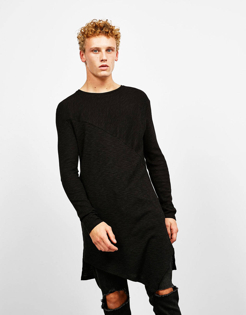 Diagonal cut ribbed sweater