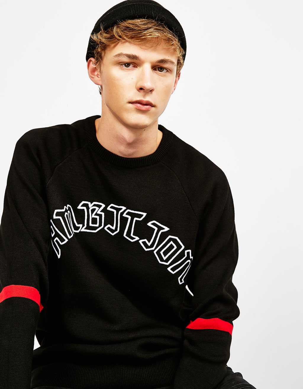 Ambition embroidered text sweater