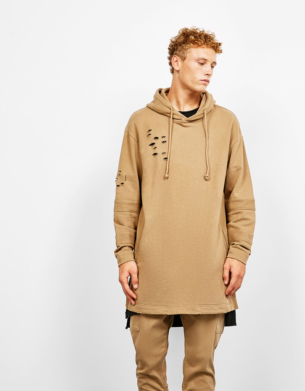 Long hooded sweatshirt