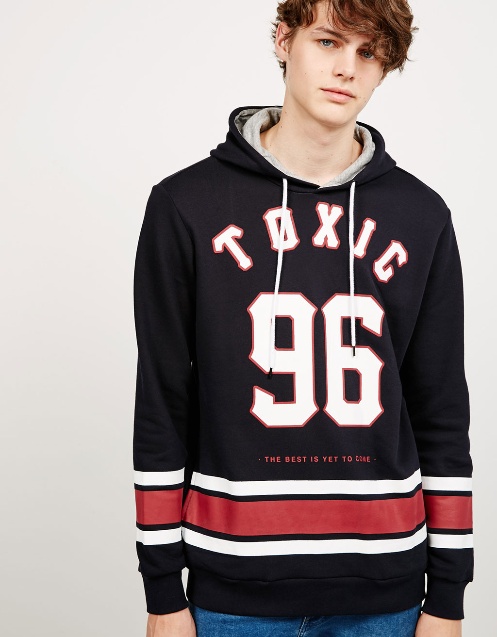 Plush hooded sweatshirt with text