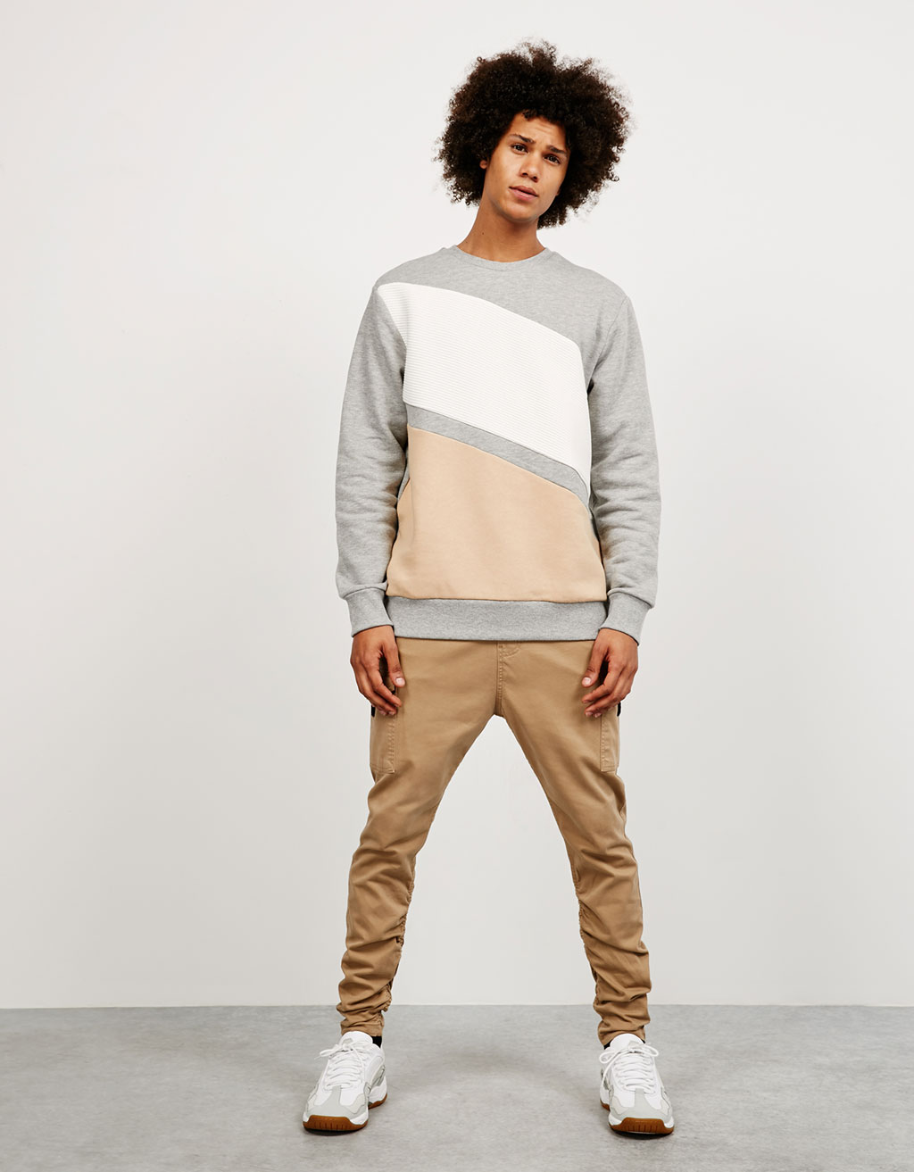 Combination textured sweatshirt