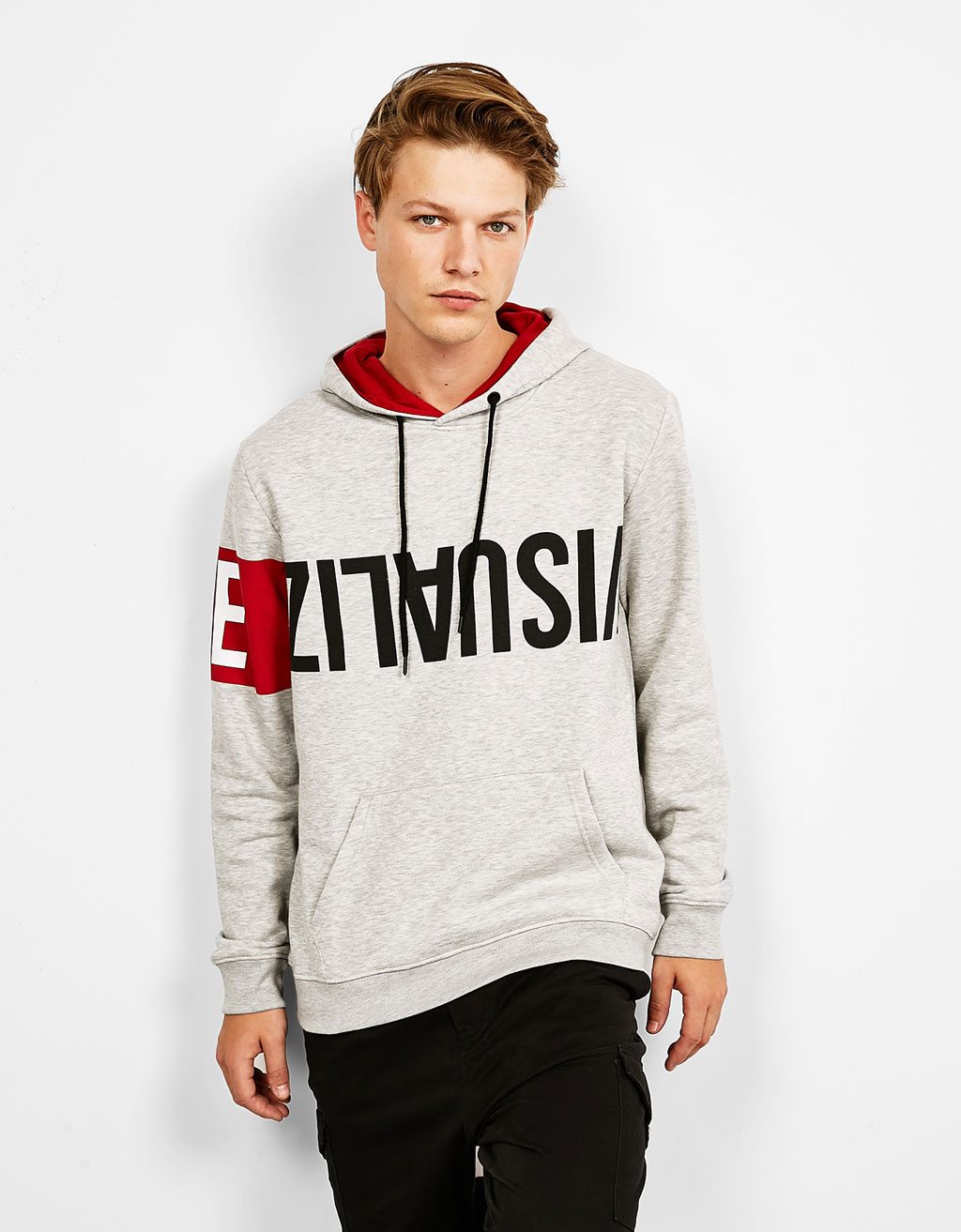 Sweater with text print hood