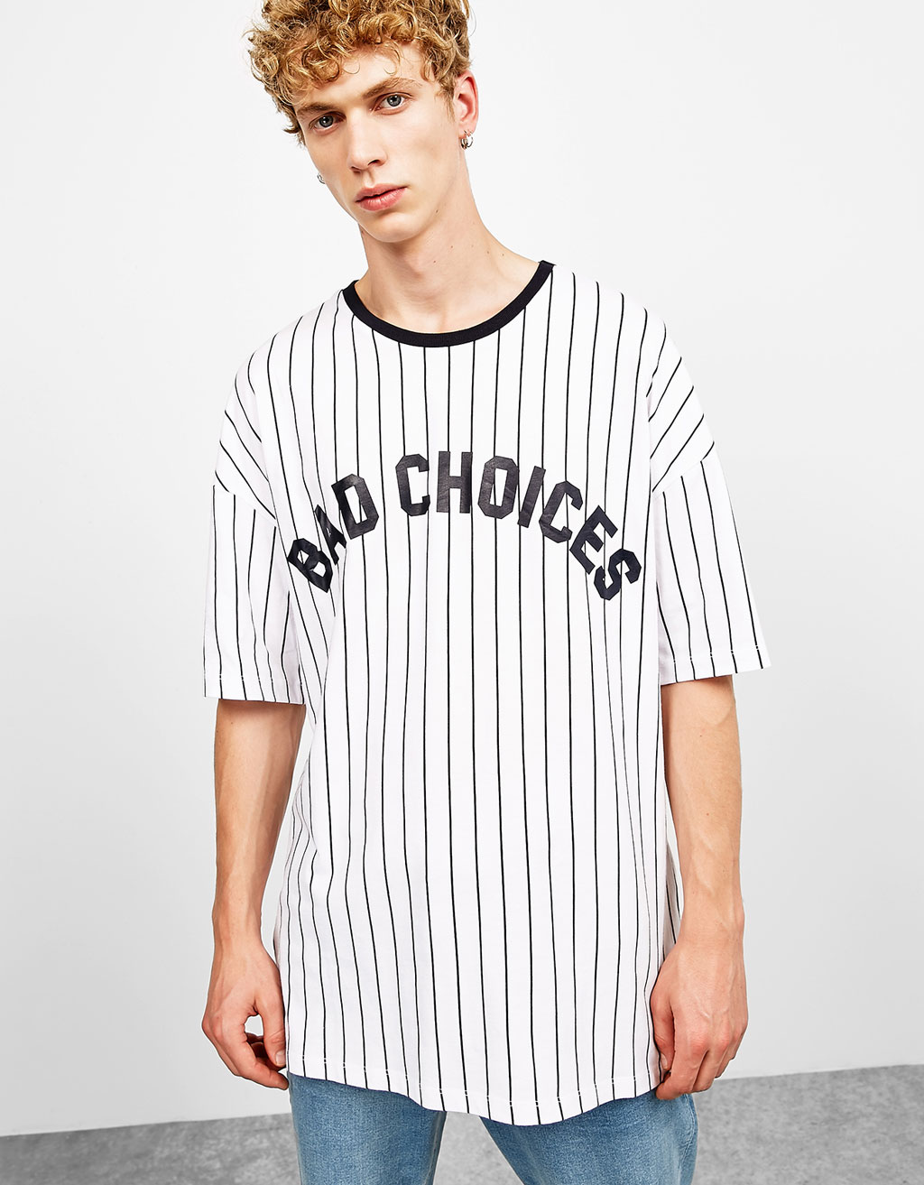 Boxy fit vertical striped text T-shirt