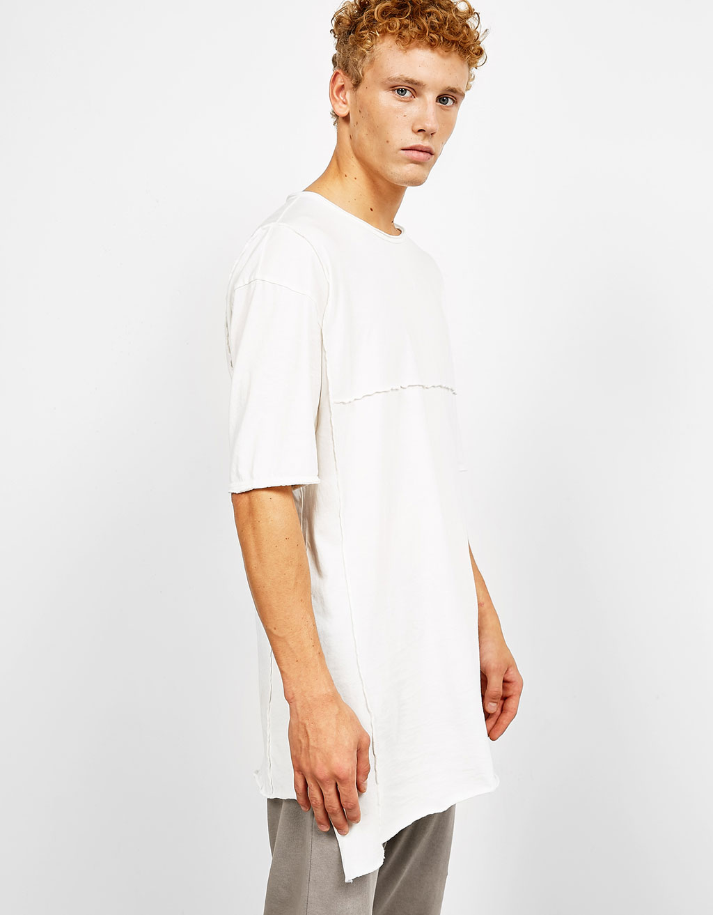 Asymmetric box pleat T-shirt