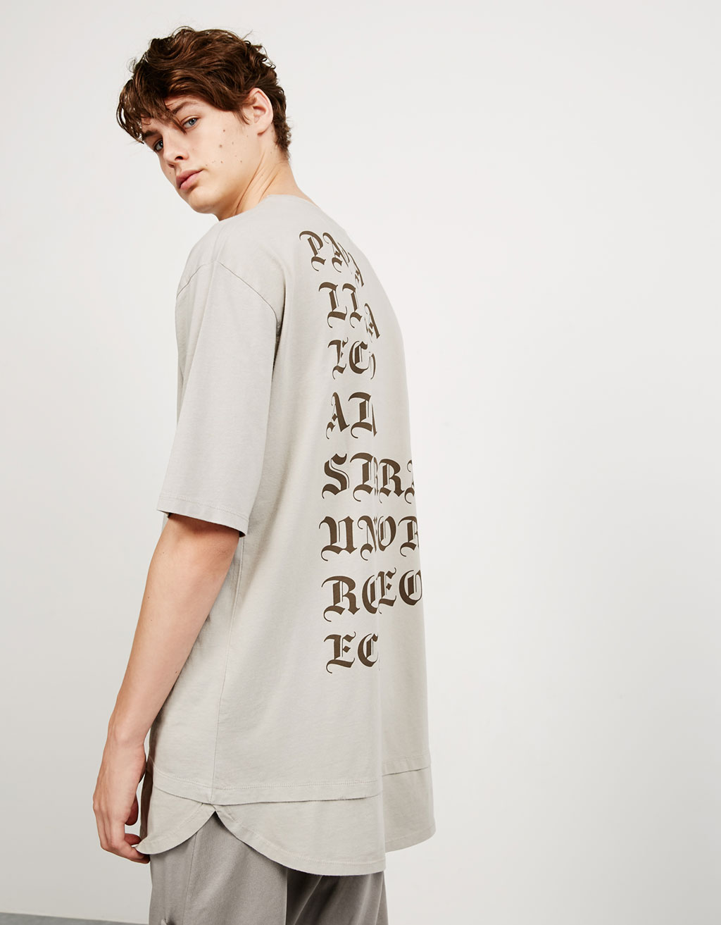 Double layered stonewashed text top